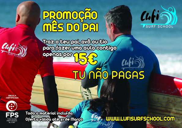 Dia do Pai 2016 na escola de surf Lufi Surf School, Costa de Caparica.
